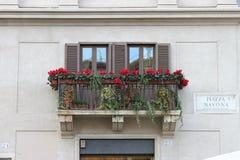 Balcón en el cuadrado de Navona, Roma Imagen de archivo