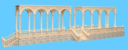 Balcón en el estilo arquitectónico romano con la barandilla y el pórtico libre illustration