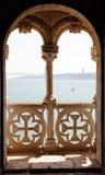 Balcón en la torre de Belem Imágenes de archivo libres de regalías