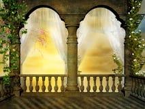 Balcón florecido stock de ilustración