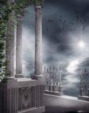 Balcón gótico con las vides stock de ilustración