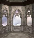 Balcón medieval de la fantasía que pasa por alto un cielo nublado stock de ilustración