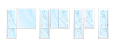 Balcón Windows con los marcos blancos y el sistema azul del vidrio aislados Imagen de archivo