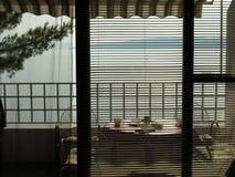 Balcón y visión sobre las islas en Croacia Foto de archivo libre de regalías