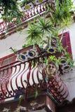 Balcões decorados com plantas e os vasos de flores especiais Foto de Stock