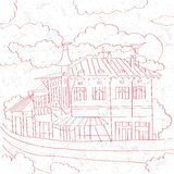 Balcanic building sketch Royalty Free Stock Image