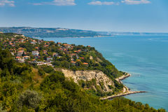 Balchik. Black Sea town of Balchik, seen from height and the northern coast in the distance Stock Photo