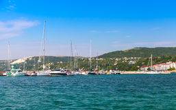 Balchik resort town marina. Moored sailing yacht Royalty Free Stock Images