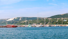Balchik resort town marina. Moored yachts Royalty Free Stock Photography