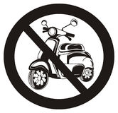 Balck ban with moped. Black and white moped on the black road ban Stock Photo