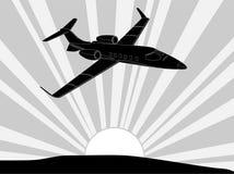 Balck och vitt flygplan stock illustrationer