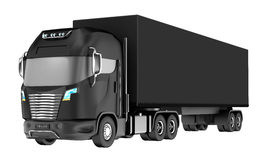 Balck truck with container  on white. Royalty Free Stock Image