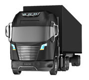 Balck truck with container  on white. Royalty Free Stock Images