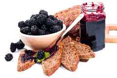 Balckberries jam and homemade slices bread closeup Stock Image