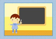 Balckboard de boywith d'école Photos libres de droits