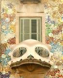 Balcón de las casas Batllo en Barcelona Foto de archivo libre de regalías
