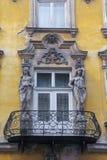 Balcon стиля Арт Деко, старый городок, Краков, Польша стоковое фото rf