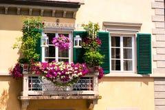 Balcon avec des fleurs à Pise Photo libre de droits