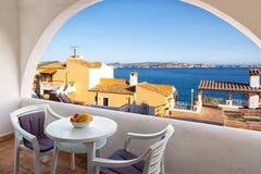 Balcon avec des vues de mer Photo stock