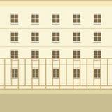 Balcon avec le fond de vue de bâtiment Photos libres de droits