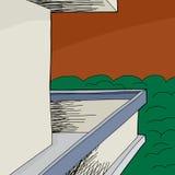 Balcon avec le mur vide Photos libres de droits