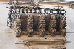 Balcon baroque, Sicile photo libre de droits
