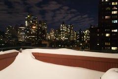 Balcon couvert de neige Photos stock