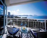 Balcon d'hôtel de seaview de la Chine Sanya Photographie stock