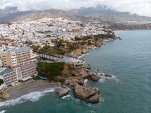 Balcon de欧洲Europa或阳台在太阳海岸的,安达卢西亚,西班牙内尔哈镇 库存照片