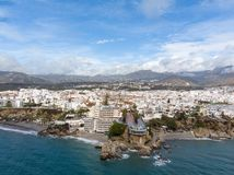 Balcon de Europa or Balcony of Europe in Nerja town on Costa del Sol, Andalucia, Spain. View from air, march 2018 Royalty Free Stock Photos