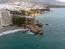 Balcon de Europa or Balcony of Europe in Nerja town on Costa del Sol, Andalucia, Spain. View from air, march 2018 Royalty Free Stock Image