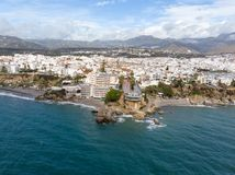 Balcon de Europa or Balcony of Europe in Nerja town on Costa del Sol, Andalucia, Spain. View from air, march 2018 Stock Image