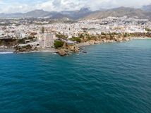 Balcon de Europa or Balcony of Europe in Nerja town on Costa del Sol, Andalucia, Spain. View from air, march 2018 Stock Photos