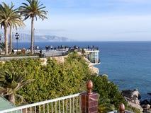 Balcon de Europa am spanischen Erholungsort von Nerja auf Costa del Sol Stockbilder