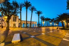 Balcon de Europa viewpoint in Nerja, Malaga,Spain. At twilight Stock Photos