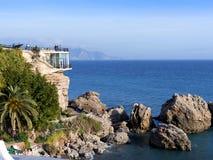 Balcon De Europa w Nerja, śpiący Hiszpański Wakacyjny kurort na Costa Del Zol blisko Malaga, Andalucia, Hiszpania, Europa Fotografia Royalty Free