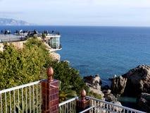 Balcon De Europa w Nerja, śpiący Hiszpański Wakacyjny kurort na Costa Del Zol blisko Malaga, Andalucia, Hiszpania, Europa Obrazy Stock