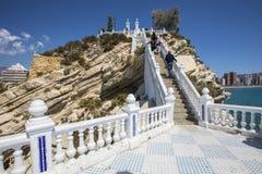 Balcon del Mediterraneo in Benidorm. Tourists climbing the staircase at Balcon del Mediterraneo in Benidorm, Spain stock photos