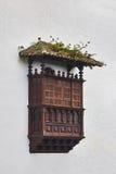 Balcon di legno antico in Icod de Vines, Tenerife, Spagna Fotografia Stock