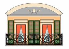 Balcon et porte rouge illustration de vecteur