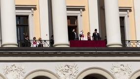 Balcon norvégien de palais royal de jour de constitution Photos libres de droits