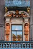 Balcon with statues of house of the merchant Utin in Saint Petersburg, Russia Royalty Free Stock Photography