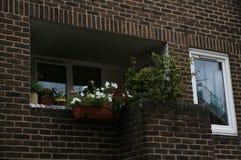 Balcon sur une petite rue en Europe avec les fleurs colorées photographie stock