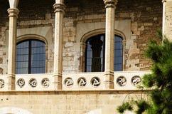 Balcone al palazzo di Almudaina in Palma de Mallorca Immagini Stock