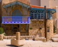 Balcone blu al centro di vecchio Jaffa Fotografia Stock Libera da Diritti