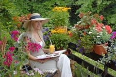 Balcone con i fiori Fotografie Stock