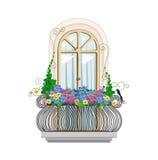 Balcone con i fiori Illustrazione Vettoriale