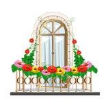 Balcone con i fiori Illustrazione di Stock
