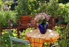 Balcone con i fiori e le piante Fotografia Stock Libera da Diritti