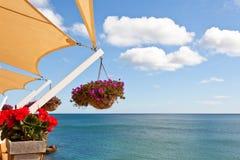 Balcone con la vista del mare Immagine Stock